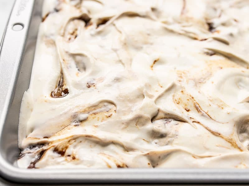 Close up of No Churn Balsamic Ice Cream Ready for Freezing