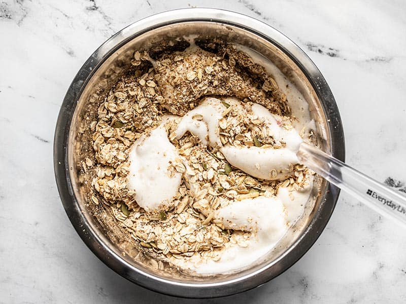 Combine aquafaba and granola dry ingredients