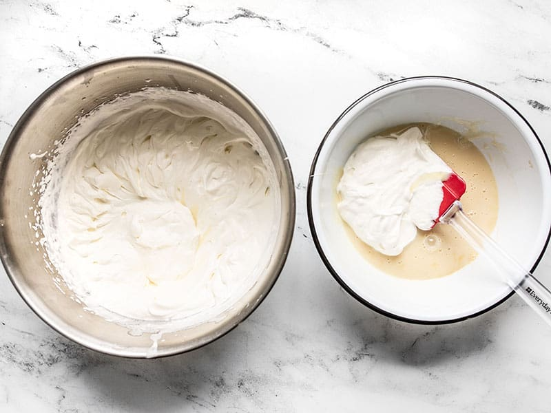 A little whipped cream added to the bowl of sweetened condensed milk