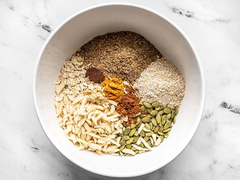 Super Crunchy Oil Free Granola Ingredients in a bowl