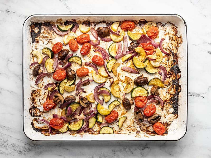 Roasted vegetables on the sheet pan
