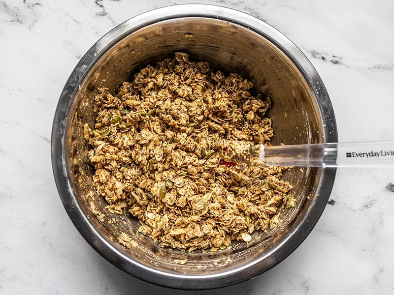 Super Crunchy Oil Free Granola mixed together in the bowl