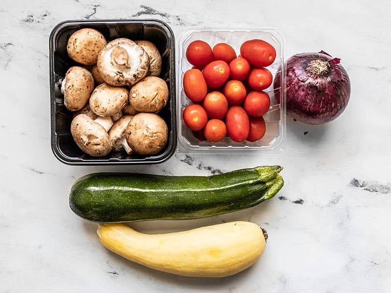 Whole vegetables for Roasted Vegetable Salad Meal Prep