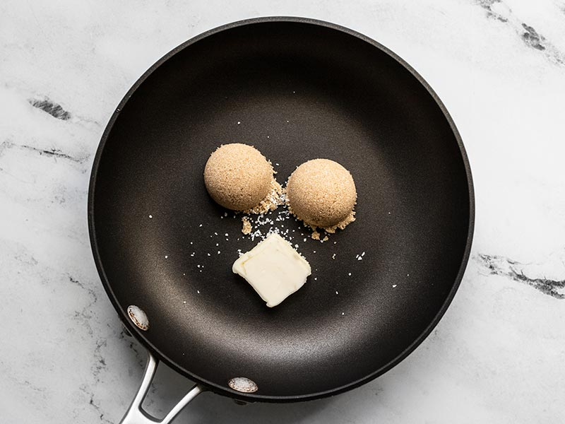 Brown sugar, butter, and salt in a small skillet