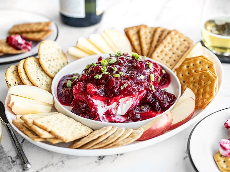 Front view of the Cranberry Cream Cheese Dip platter