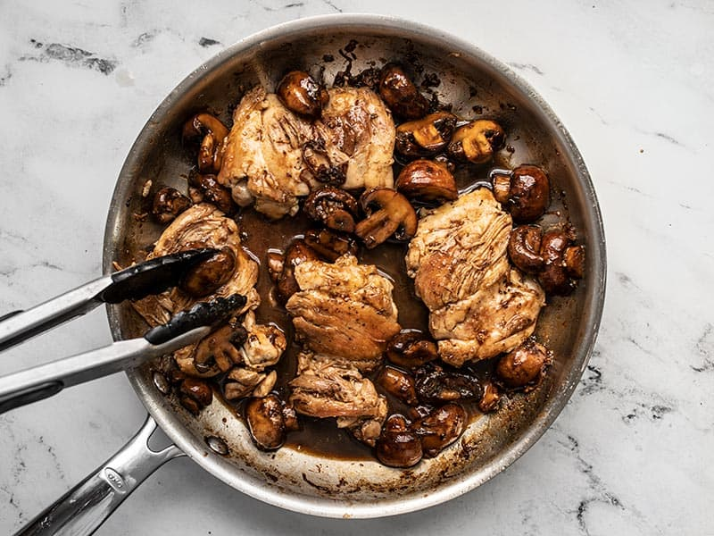 Chicken added back into the skillet with the mushrooms and balsamic sauce