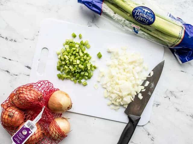 Diced onion and celery