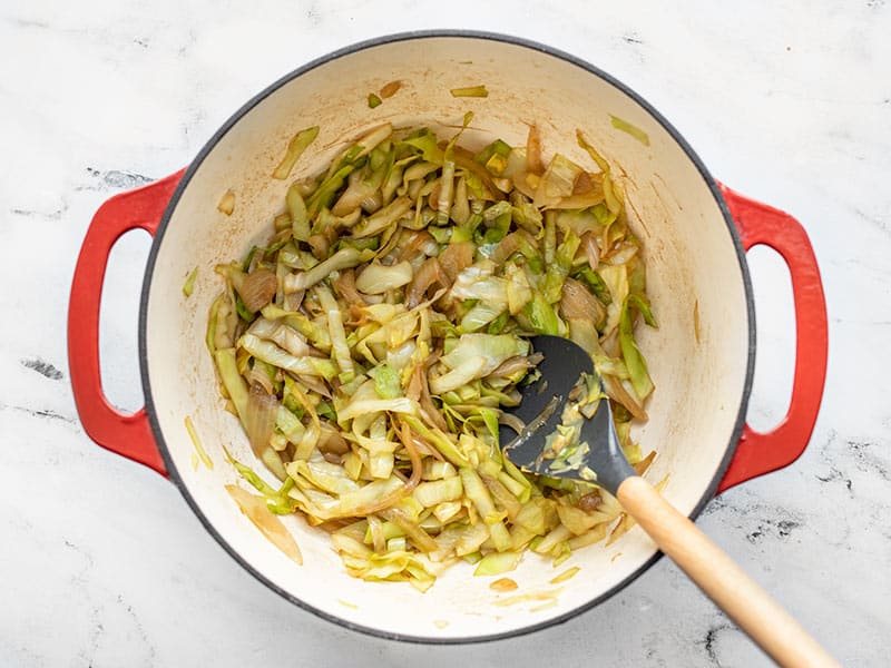Sautéed Cabbage and onions in the pot