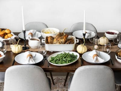 Side view of a simple Thanksgiving dinner table