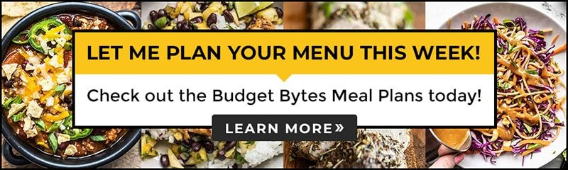 Banner for Budget Bytes Meal Plans with recipes images in the background