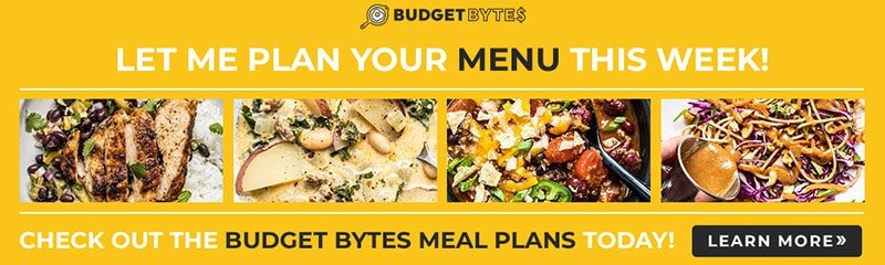 Yellow banner ad for Budget Bytes Meal Plans