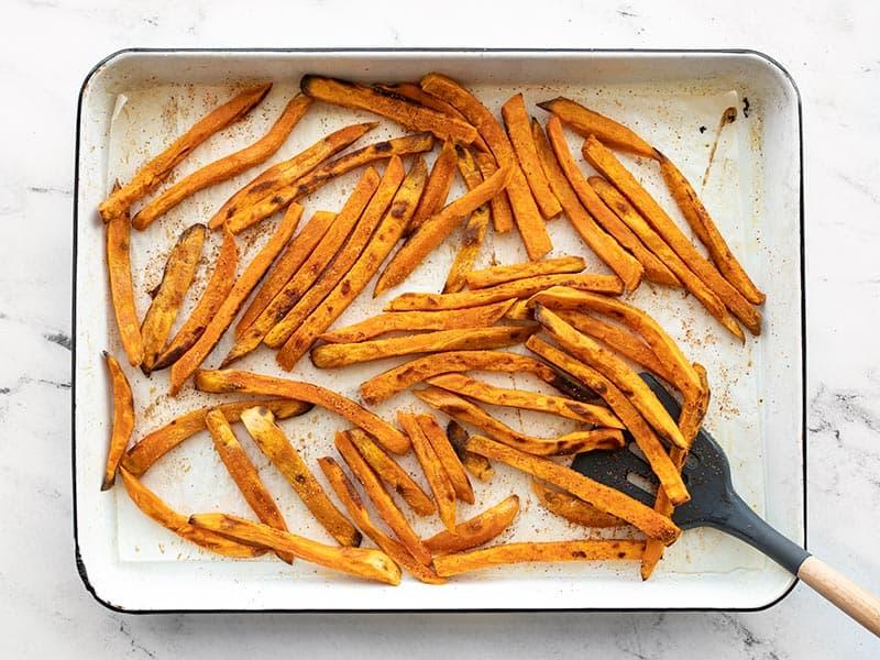 Finished seasoned sweet potato fries