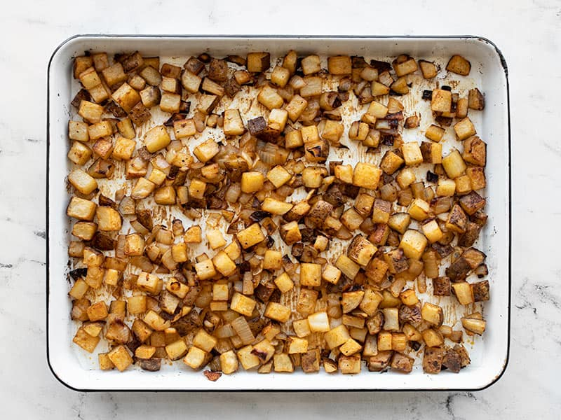 Potatoes and Onions after roasting 50 minutes