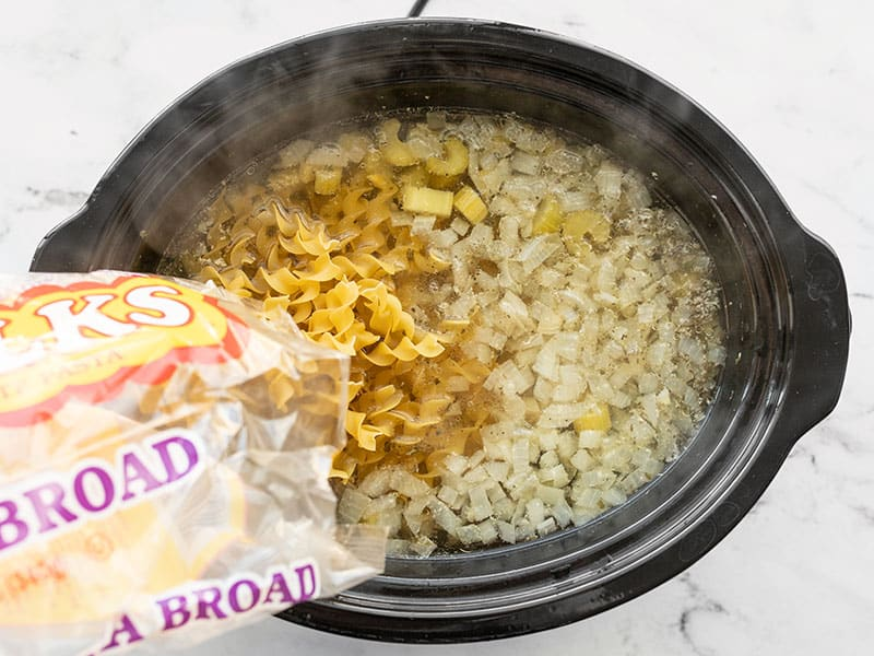 Add egg noodles to slow cooker