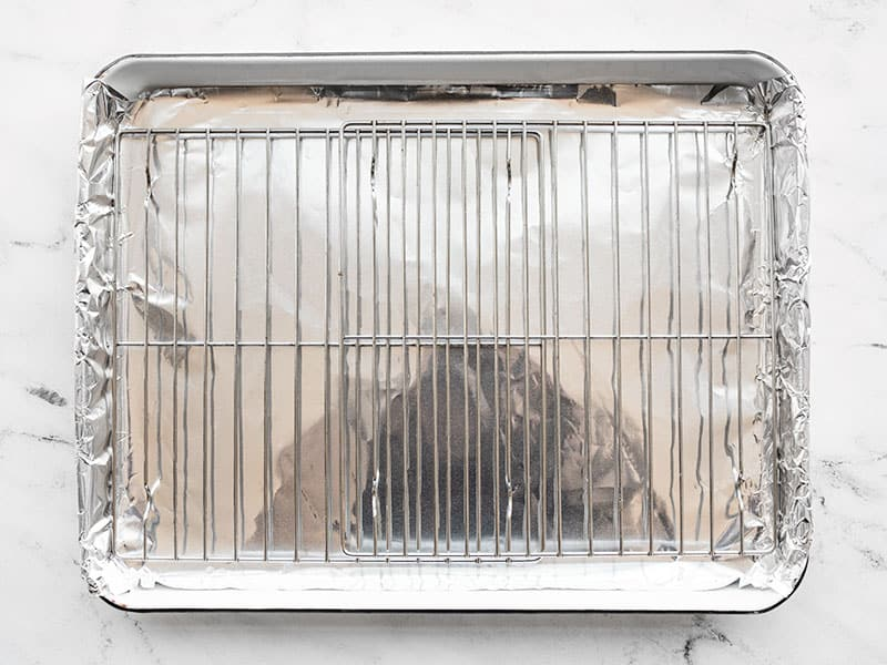 Prepared baking sheet with foil and a wire rack