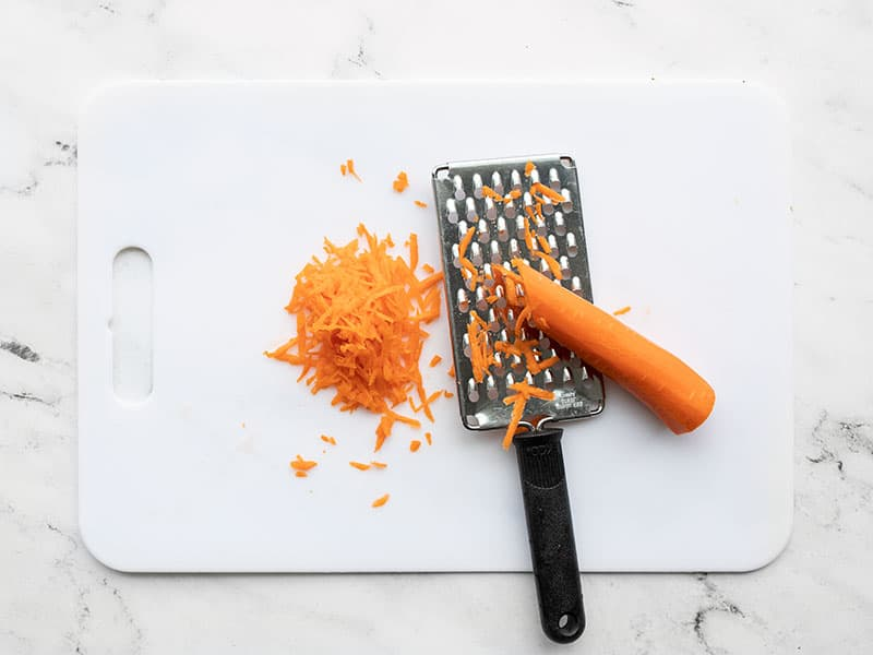 Shredded carrot with cheese grater