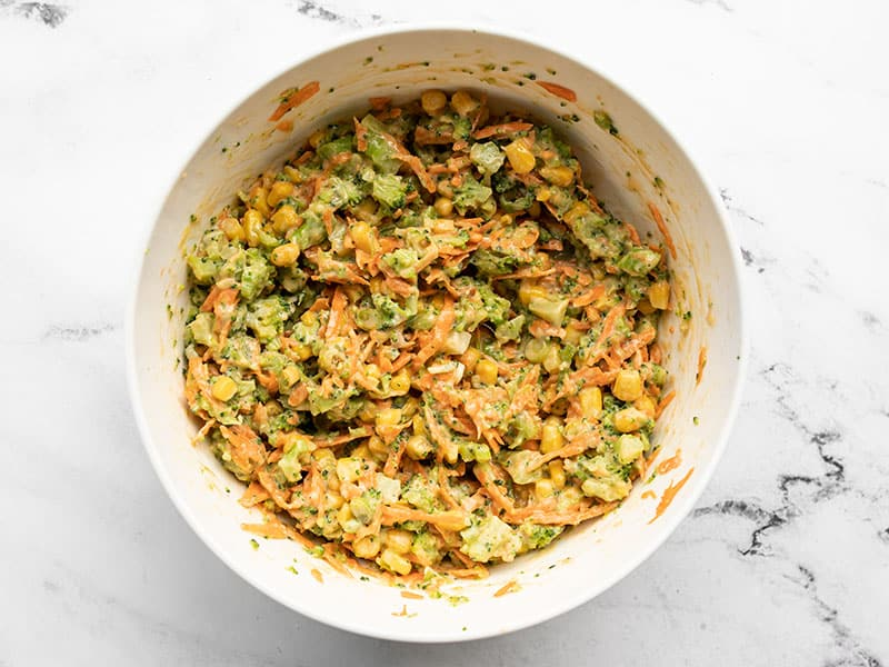 Vegetable fritter batter in the bowl