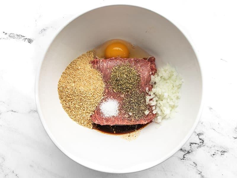 Salisbury Steak ingredients in a bowl