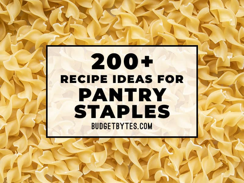 Close up image of dry pasta with title text overlay in the center