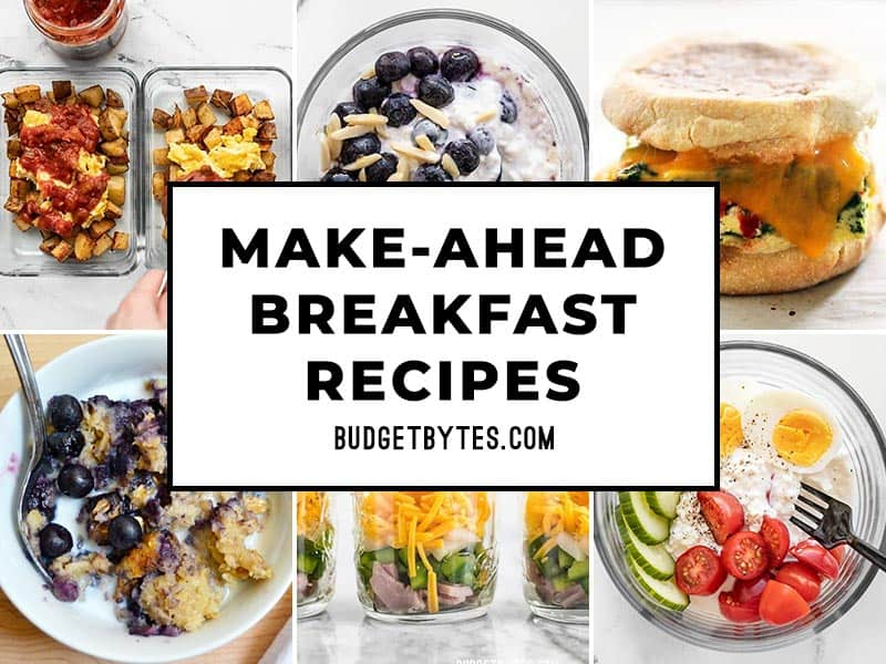 collage of breakfast recipe photos with a title box in the center