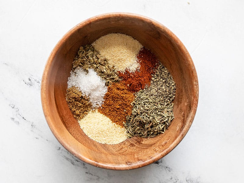 Cajun spice mix in a wooden bowl