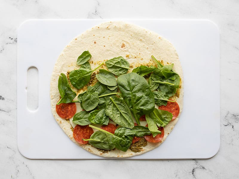 spinach added to the tortilla
