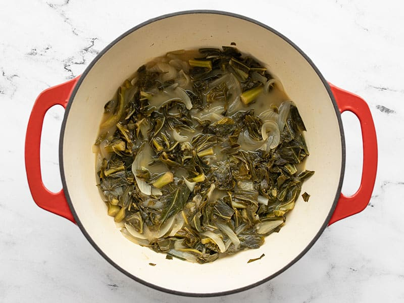 Simmered collard greens in the pot