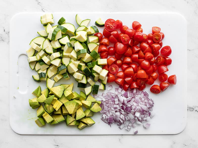 Chopped vegetables on the cutting board
