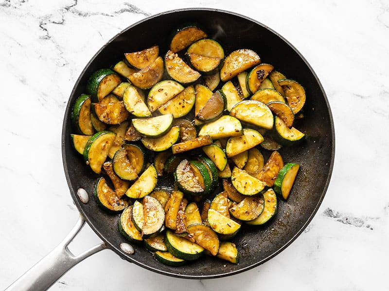 Cooked zucchini in the skillet