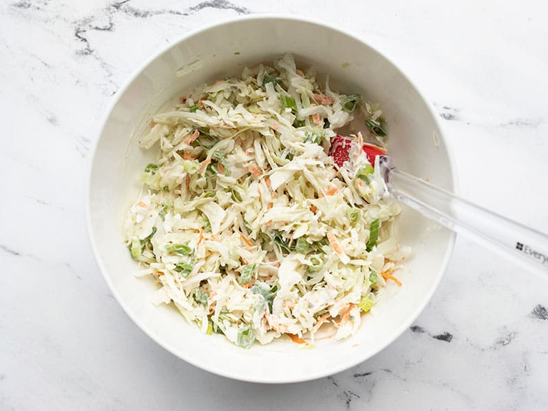 Finished ranch slaw in a mixing bowl
