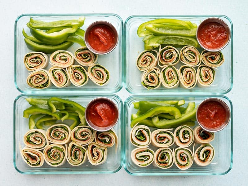 Finished pizza roll up lunch boxes