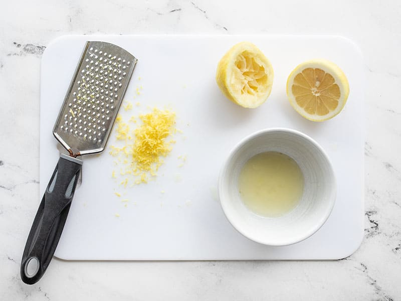 Zest and juice a lemon