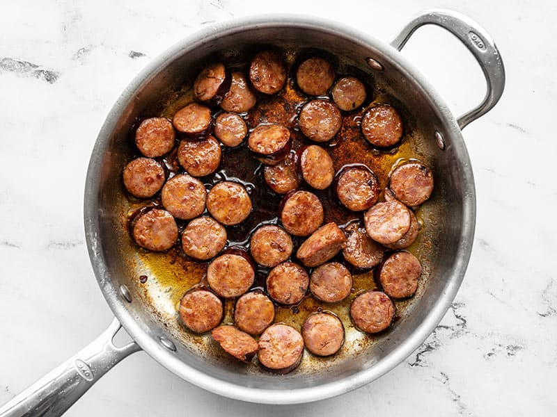 Sautéed Andouille in the skillet
