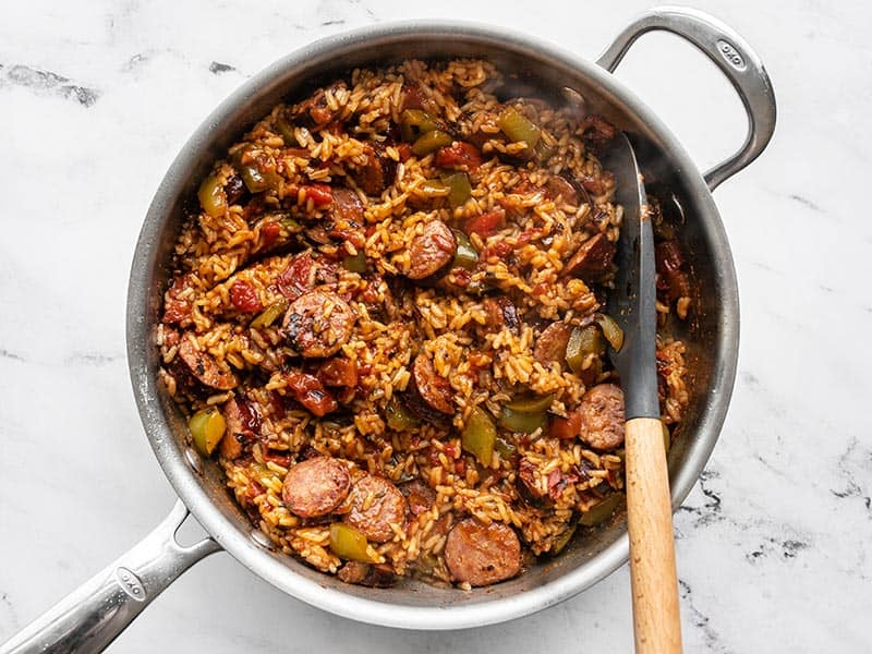 Stirred Cajun Sausage and Rice Skillet