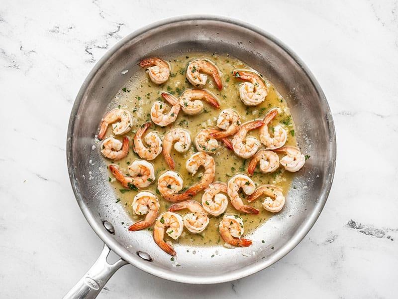 Finished Garlic Butter Shrimp in the skillet