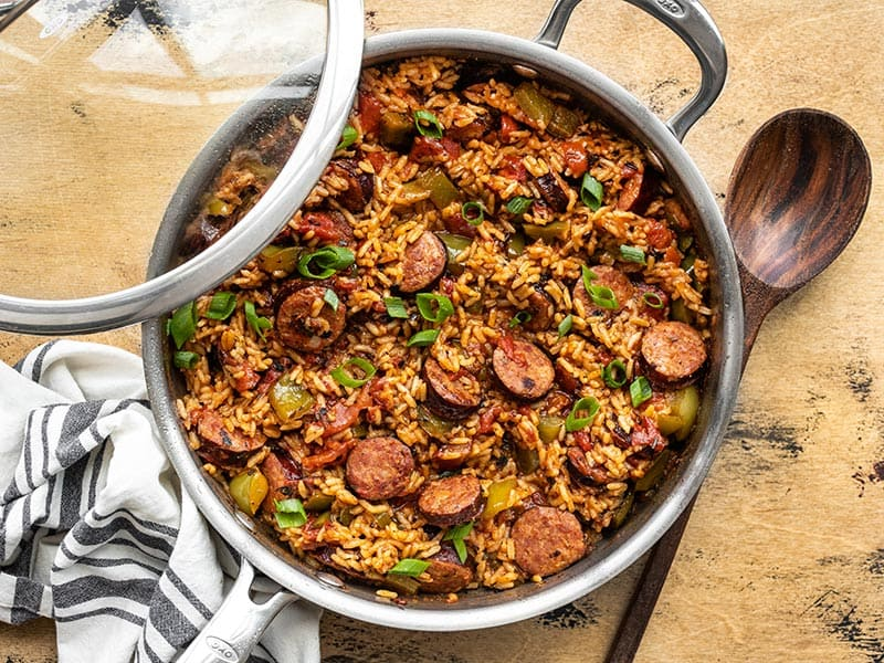 Finished Cajun Sausage and Rice Skillet with green onions