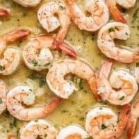 Close up of Garlic Butter Shrimp in pan sauce