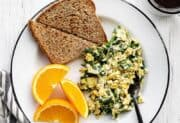 Scrambled Eggs with Spinach and Feta