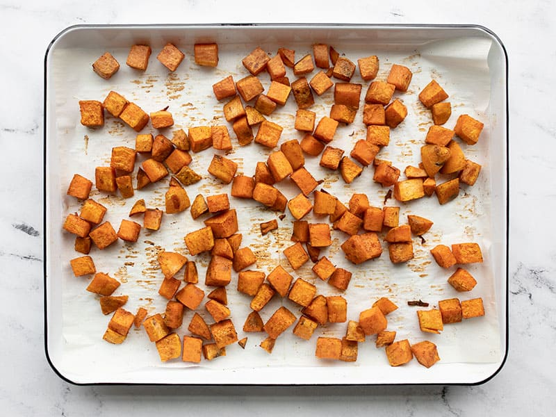 Roasted sweet potatoes on the baking sheet