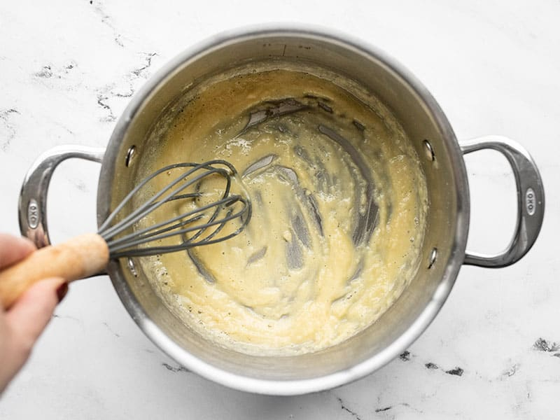 flour and butter roux in a pot