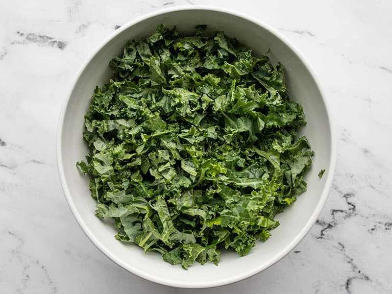 Chopped kale in a bowl