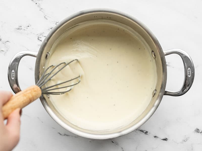 thick cheese sauce in a pot