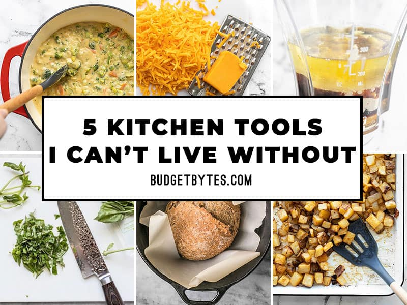 Thumbnails of kitchen tools with article title overlay