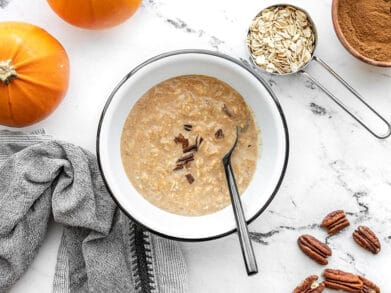 Overhead view of pumpkin pie overnight oats in the bowl