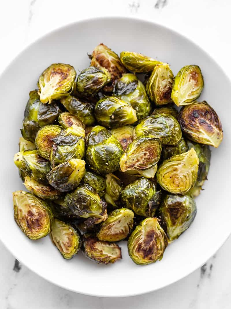 Overhead shot of a bowl of roasted Brussels sprouts