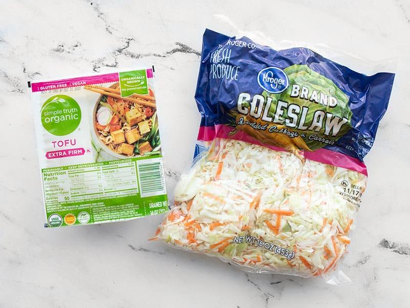 tofu and coleslaw mix