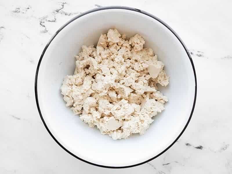 crumbled tofu in a bowl
