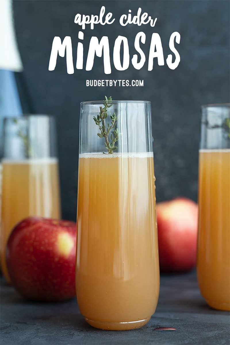 Three apple cider mimosas with title text at the top