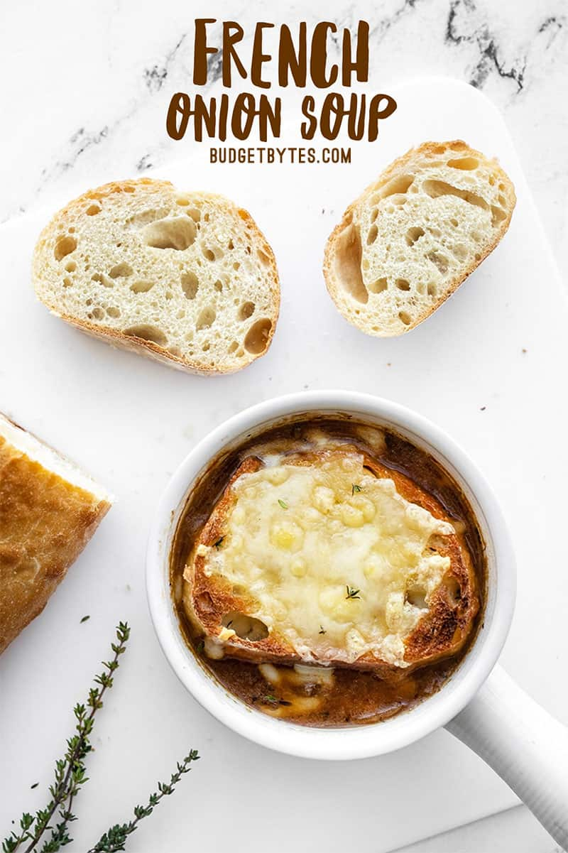 One bowl of french onion soup with bread slices on the side, title text at the top