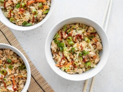 three bowls of quick tofu stir fry